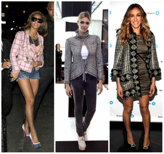 Beyoncé, Fernanda Lima e Sara Jessica Parker são fãs do casaco de tweed - Foto: Divulgação