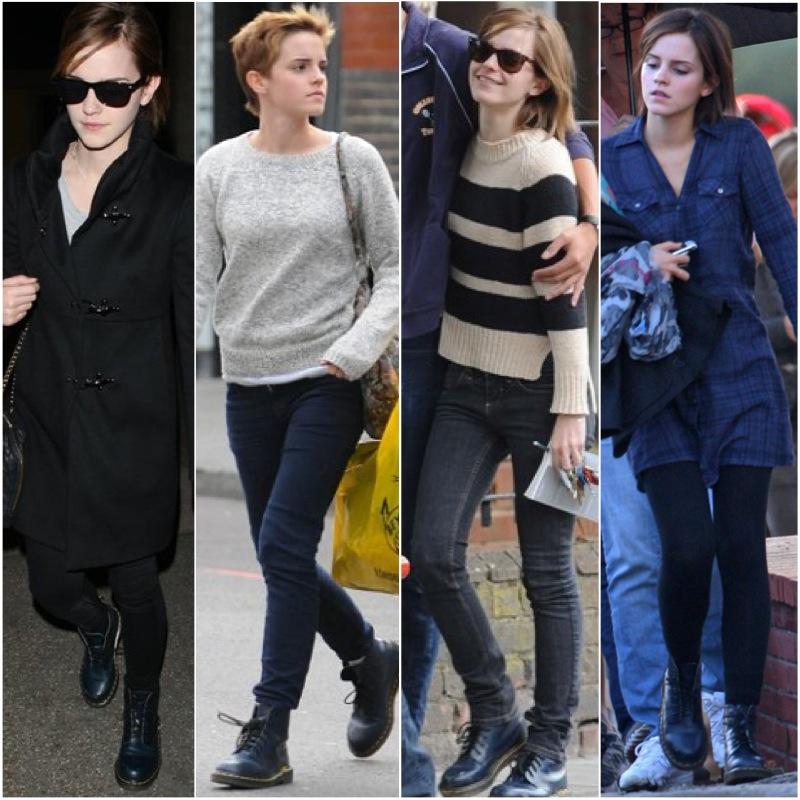 Emma Watson usa bastante coturno. Geralmente com jeans justo, a atriz também, já combinou com meia calça e vestido - Foto: Divulgação