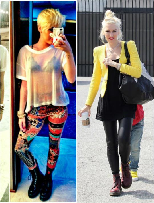 Miley Cyrus e Gwen Stefani apostaram na combinação de coturno com legging - Foto: Divulgação
