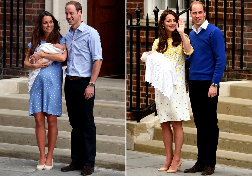 Nem das duas vezes que deixou a maternidade, poucas horas após dar à luz, Kate Middleton dispensou o salto alto - Foto: Divulgação