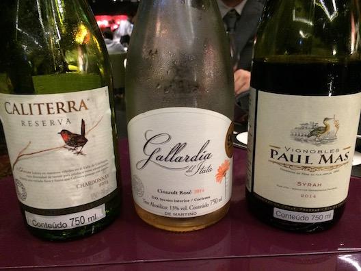 Os três vinhos escolhidos para harmonizar com o jantar